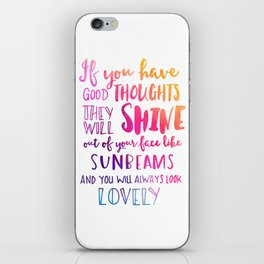 Good thoughts - colorful lettering iPhone Skin