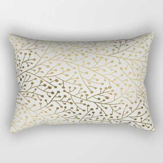 Gold Berry Branches Rectangular Pillow