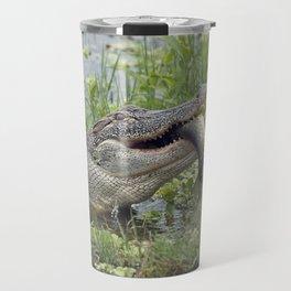 Alligator eating a large fish in Florida lake Travel Mug