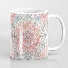 Autumn Spice Mandala in Coral, Cream and Rose Coffee Mug