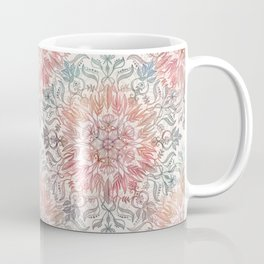 Autumn Spice Mandala in Coral, Cream and Rose Coffee Mug