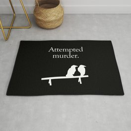 Attempted Murder (white design) Rug