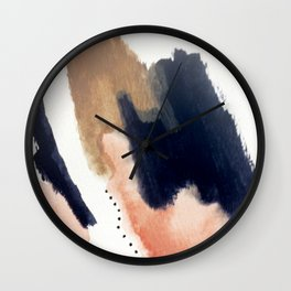 Drift Away [2] - a mixed media abstract piece in pink, brown, and purple Wall Clock