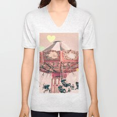 wing Carousel and heart bokeh on pale pink Unisex V-Neck