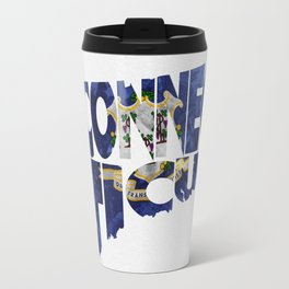 Connecticut Typographic Flag Map Art Travel Mug