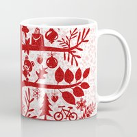blankets Mugs featuring CHRISTMAS TREE red ITINERANT by Chicca Besso