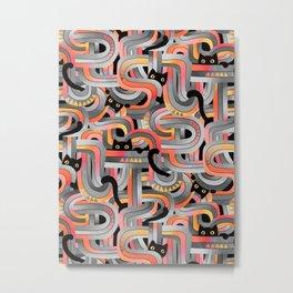 Geo Cats Maze in Sunset Colors plus Grey Metal Print