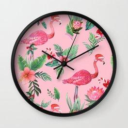 Santa Flamingo Santa Christmas // Holidays Wall Clock