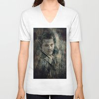 castiel V-neck T-shirts featuring Castiel by Sirenphotos