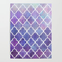 Purples & Pinks Watercolor Moroccan Pattern Poster