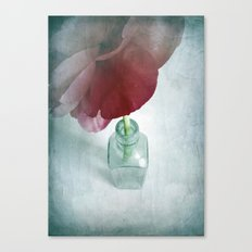 Peony In Glass Bottle Canvas Print