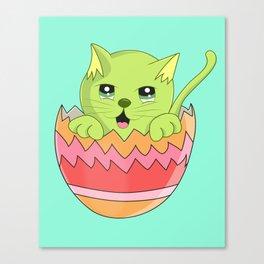 Gatito color Verde  Canvas Print