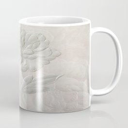 Embossed Painterly White Floral Abstract Coffee Mug