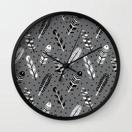 Feather geometric grey charcoal neutral modern pattern print dots geo scandinavian scandi pattern pr Wall Clock
