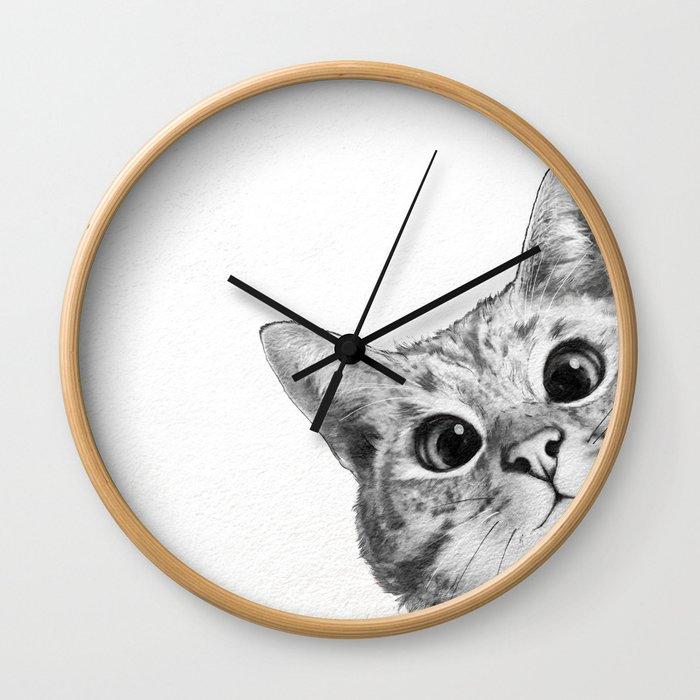 sneaky cat Wall Clock