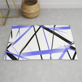 Criss Crossed Blue and Black Stripes on White Rug