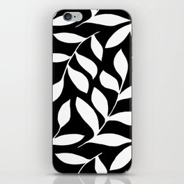WHITE AND BLACK LEAVES DESIGN PATTERN iPhone Skin