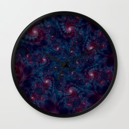 Burgundy and Blue Fractal Abstract Wall Clock