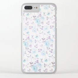 Baby blue purple vintage bohemian roses flowers Clear iPhone Case