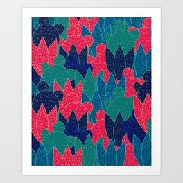 Cactus field at night Art Print