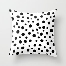 Black and White Brush Dots Throw Pillow