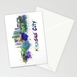 Kansas City V2  skyline in watercolor Stationery Cards