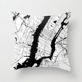 New York City White on Black Throw Pillow