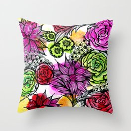 colorful flower doodles Throw Pillow