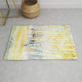 Birch Forest In The Morning Rug