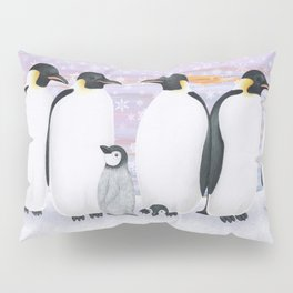 emperor penguins and chicks winter sunset Pillow Sham
