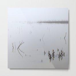 Foggy Lake. Beautiful Sunrise. Minimal. Metal Print