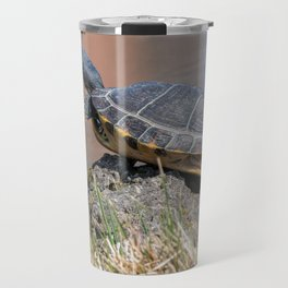 cute turtles rest at sun on pond Travel Mug