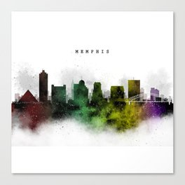 Memphis Watercolor Skyline Canvas Print