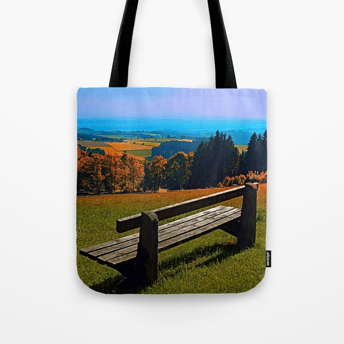 Summertime scenery and the bench to watch it Tote Bag