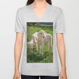 Spring Lambs Grazing On Farmland Unisex V-Neck