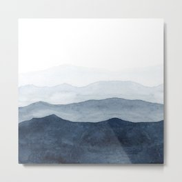 Indigo Abstract Watercolor Mountains Metal Print
