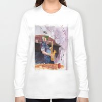 saxophone Long Sleeve T-shirts featuring Playing saxophone by aurora villaviejas