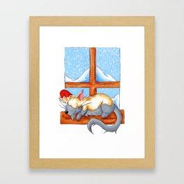 Christmas Catnap Framed Art Print