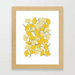 ginkgo leaves (yellow) Framed Art Print