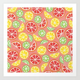 Vitamin C Super Boost - Citric Fruits on Peach Art Print