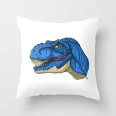 Felling Blue T-Rex - Dinosaur  Throw Pillow