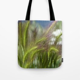 Ripened cheatgrass in green and pink Tote Bag