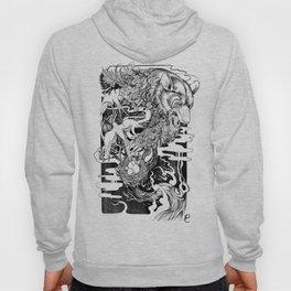 Bear- black and white - illustration Hoody