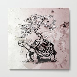 Turtle with a bonsai on the carapace Metal Print
