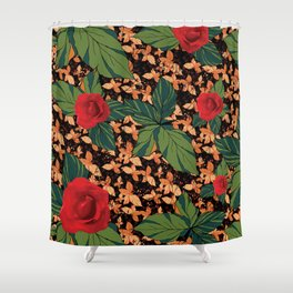 rose with dandelion - variant Shower Curtain