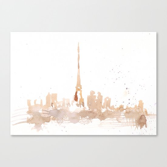 Watercolor landscape illustration_Paris Canvas Print