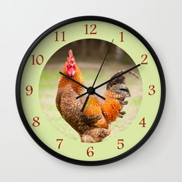 Rhode Island Red rooster portrait Wall Clock