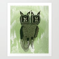 owls Art Prints featuring Owls by Amanda James