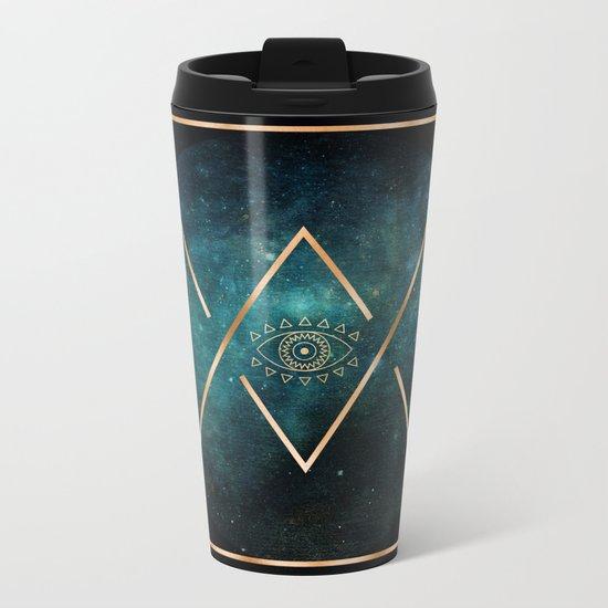 Eye Moon Gold Geometric Tribal Bohemian Mandala Metal Travel Mug