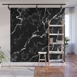Faux Black Marble Texture With White Veins (NOTICE: Not Real Marble) Wall Mural